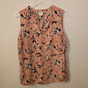 Peach Floral v-neck top
